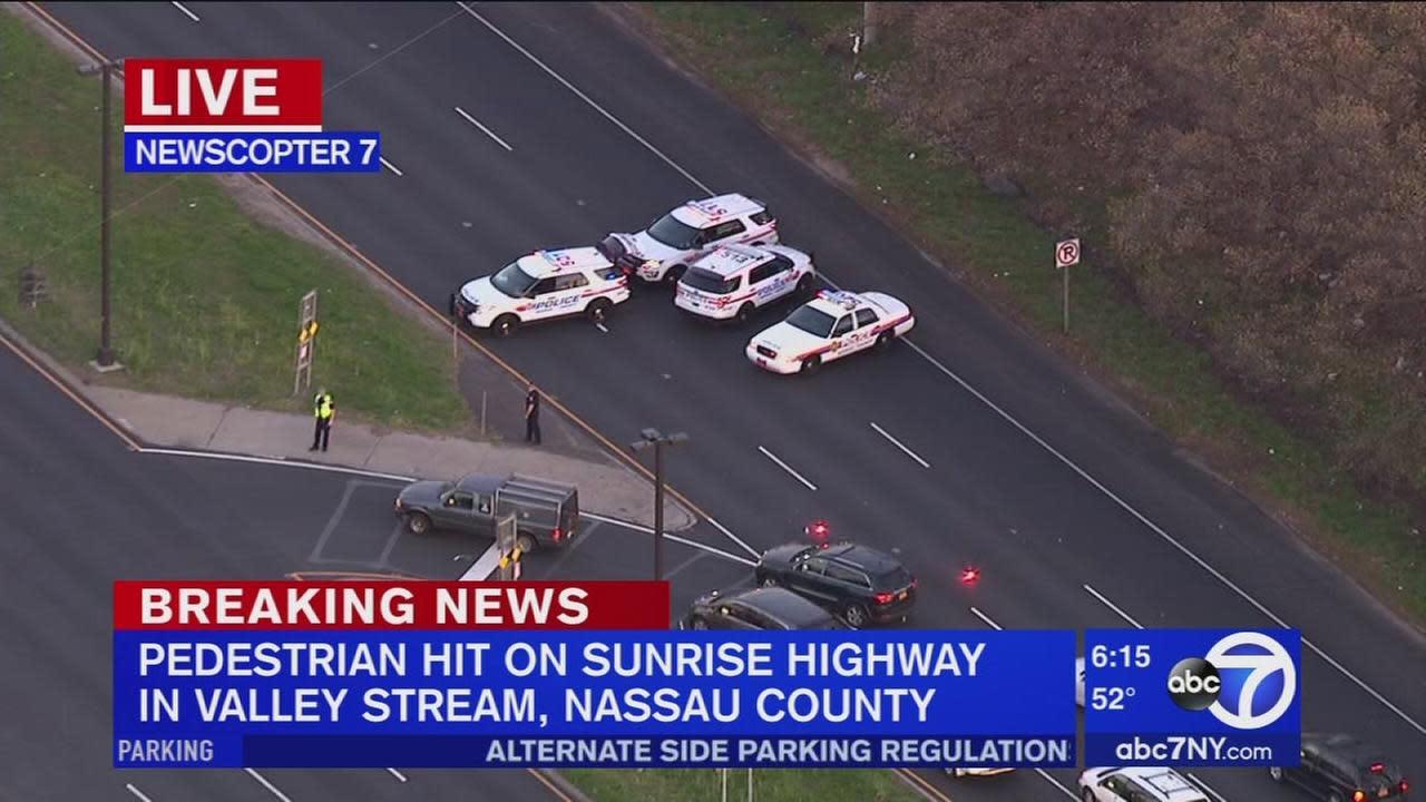 Pedestrian hit on Sunrise Highway in Valley Stream