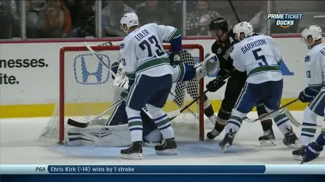 Corey Perry uses his head to jam one in