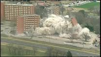 Watch dorm building implode