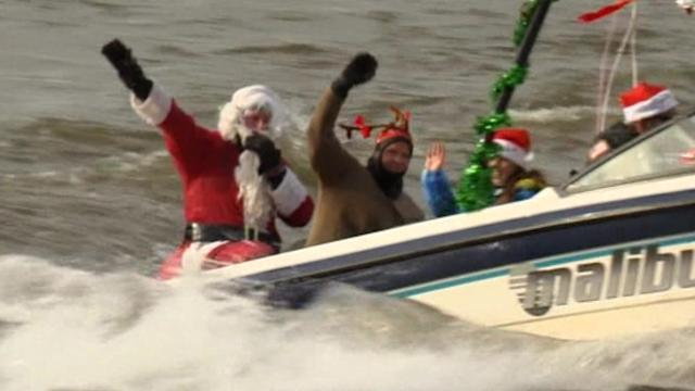 Santa trades in sled for waterskis