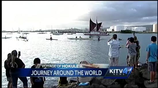 Hokulea hits the water, 4 year journey around the world officially begins!