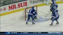 Carl Soderberg scores on open net from Smith
