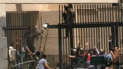 Raw Video: Protesters Storm US Embassy in Yemen