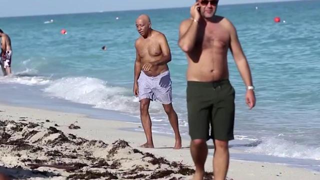 Russell Simmons Hits Miami Beach With His Bikini-Clad Girlfriend