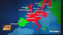 European shares trade at one-month lows