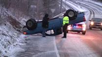 Pickup truck flips on icy Delco road