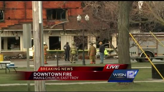 Fire destroys two East Troy buildings