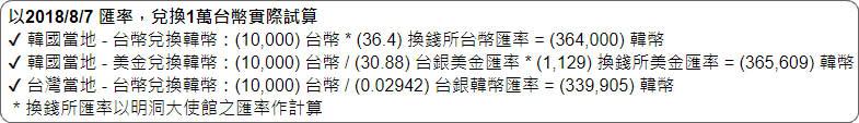 韓幣匯率試算