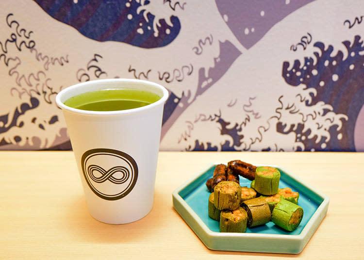 カネ十特選煎茶(カネ十特選煎茶)  450日元 / 花林糖 (かりんとう)  各380日元