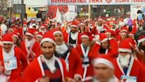 Racing Santas paint Belgrade red