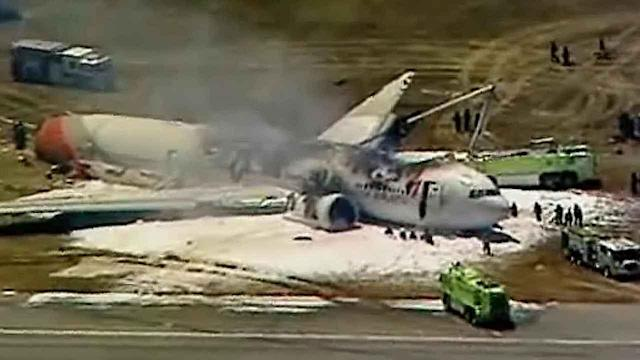 Jetliner crash at SFO: Charred plane aerials