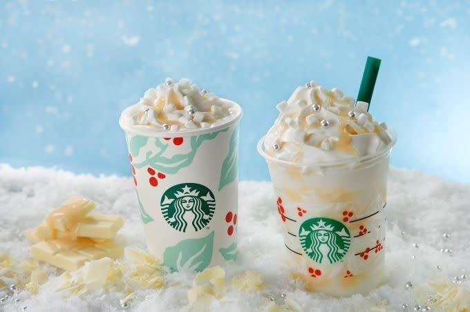 星巴克Starbucks 聖誕白巧克力雪花飲品
