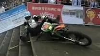 Motorcycles race up 700 stairs in China