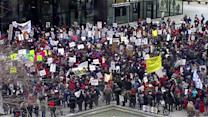 Chicago teachers protesting school closings rally, march downtown