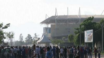 Raw: Workers at Brazil Olympic Park on Strike