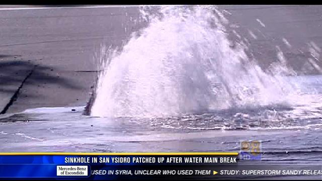 Sinkhole in San Ysidro patched up after water main break