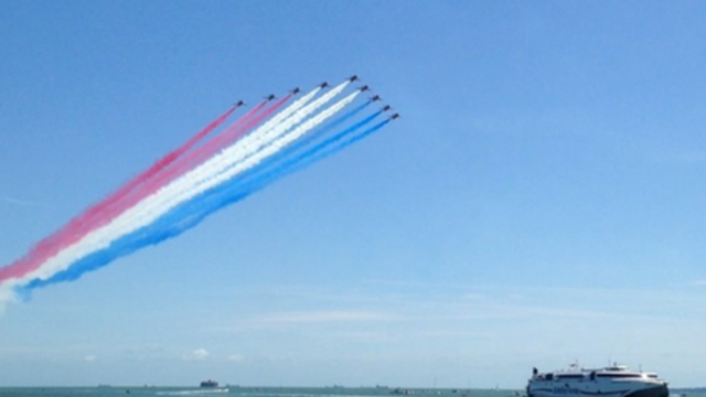 RAF Red Arrows Perform Aerial Acrobatics at D-Day Commemoration