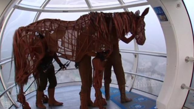 War Horse puppet goes for a ride