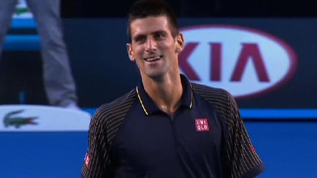 Djokovic dives, wins the point