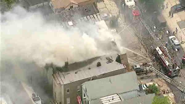 4 alarm fire injures serveral firefighters in Jersey City