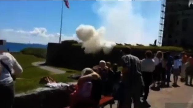 Soldier hit by cannon shot at celebration