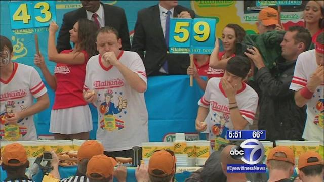 Joey Chestnut wins again in Nathan's Hot Dog eating contest on Coney Island