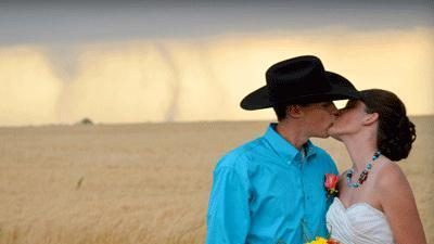 Raw video: Tornado appears during wedding