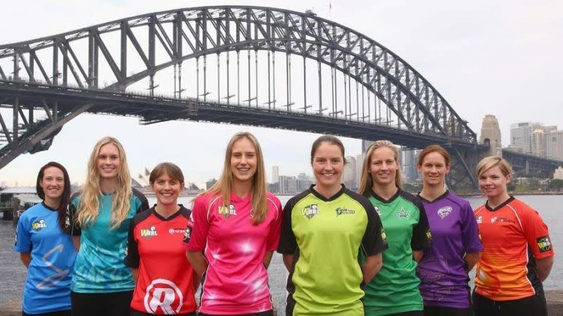 Women's Big Bash League's captains posing at an official shoot in Sydney