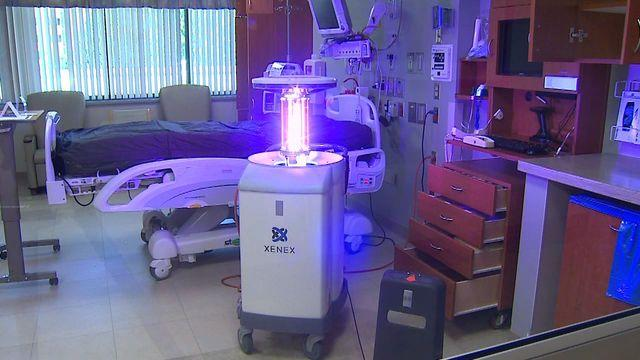 Robot disinfects hospital room with a zap