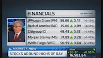 Energy leads rally, financials lagging