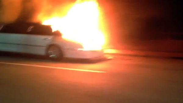 Witness captures limousine fire on cellphone