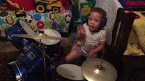 Talented 3-year-old drummer jams before bed