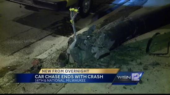 Early morning chase ends with downed light pole