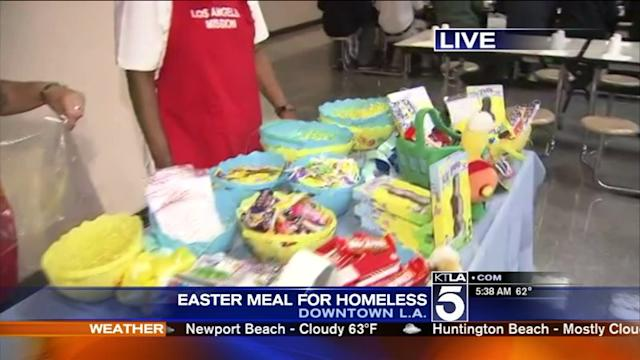 At L.A. Mission, Volunteers Preparing Easter Meal for Homeless