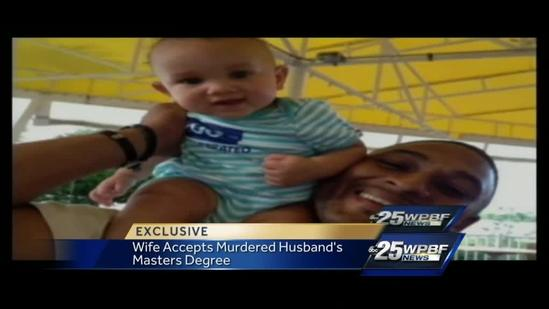 Widow receives husband's Master's degree 2 months after he was killed