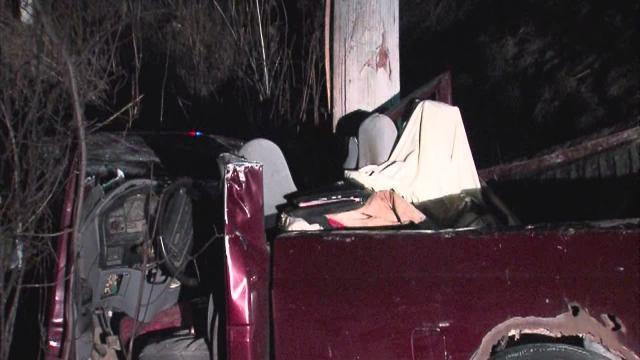 Truck hits pole in Springfield Township
