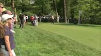 Fans turn out for a dry practice at U.S. Open