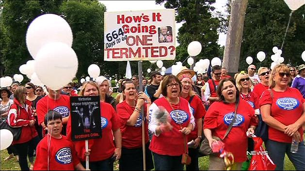 Health workers rally against staff cuts