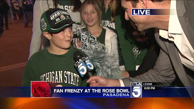 Michigan State Fans Celebrate Rose Bowl Win Over Stanford