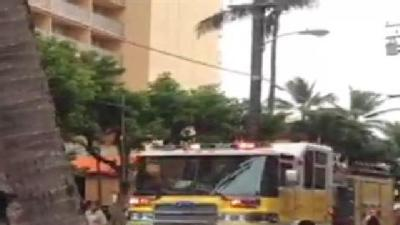 Fire Truck Arrives At Pacific Beach Hotel