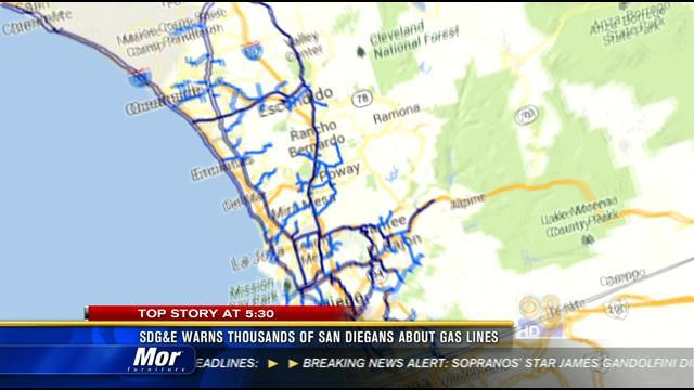 SDG&E warns thousands of San Diegans about gas lines