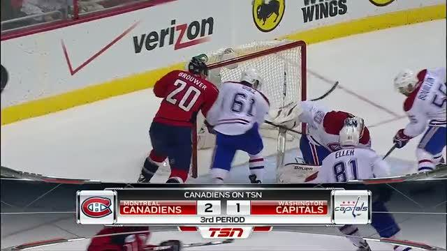 Peter Budaj robs Troy Brouwer on the doorstep