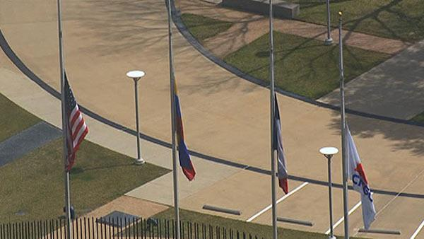 Flags at half staff at CITGO Houston for Chavez death