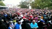 Large crowd gathers for Obama campaign rally