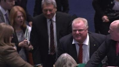 Raw: Ford Knocks Over Woman Councilor
