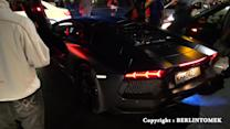 Lamborghini Aventador shooting exhaust flames