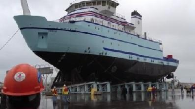 Massive Ship Launched In Harbor