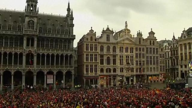 Soccer fans in Brussels celebrate qualification for world cup