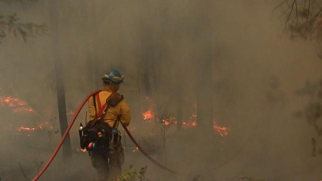 Wildfire racing through land near Yosemite