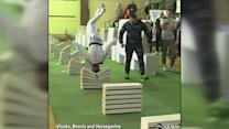Bosnian martial artist smashes 111 building blocks in 35 seconds with his head